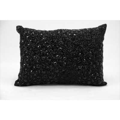 """Luminescence Black Bead- and Rhinestone-embroidered Throw Pillow - 10""""x14"""" - Polyester Insert - Overstock"""