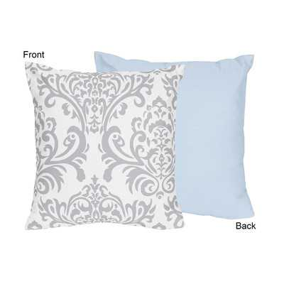 "Avery Cotton Throw Pillow- 16"" H x 16"" W x 2"" D- Blue and Gray- Polyester/Polyfill insert - Wayfair"