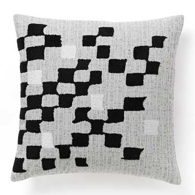 "Fading Check Pillow Cover - Black/Silver- 18""sq.- Insert Sold Separately - West Elm"