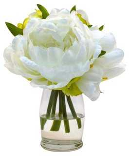 """7"""" Peonies in Vase, Faux - One Kings Lane"""