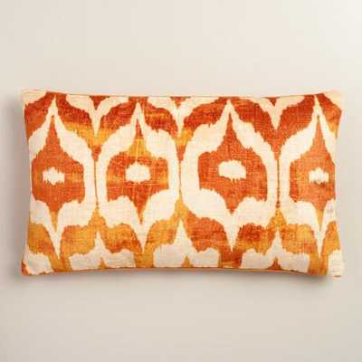 "Oversized Orange Ikat Velvet Taza Lumbar Pillow - 14""W x 24""L - Polyester filling - World Market/Cost Plus"