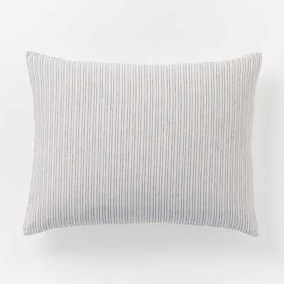 Striped Belgian Linen King Sham - Standart, Slate - West Elm