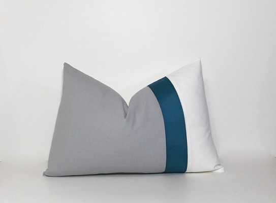 Grey & Teal lumbar pillow cover - 12x18 - no insert - Etsy