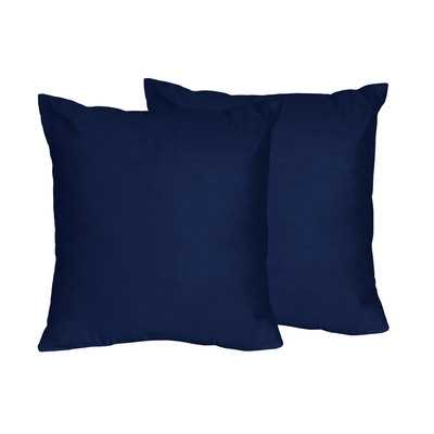 "Solid Navy Blue Throw Pillows - 18"" H x 18"" W - Polyester Insert - Wayfair"
