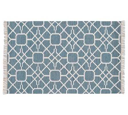 DIAMOND MAZE INDOOR/OUTDOOR SYNETHIC RUG - BLUE - Pottery Barn