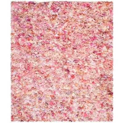 Rio Shag Ivory/Pink 6 ft. x 9 ft. Area Rug - Home Depot
