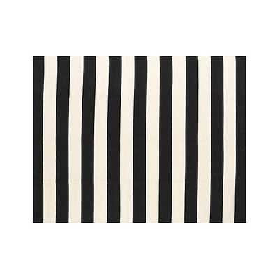 Olin Black Striped Cotton Dhurrie 8'x10' Rug - Crate and Barrel