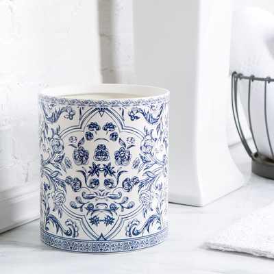 Porcelain Waste Basket, Blue & White - Birch Lane
