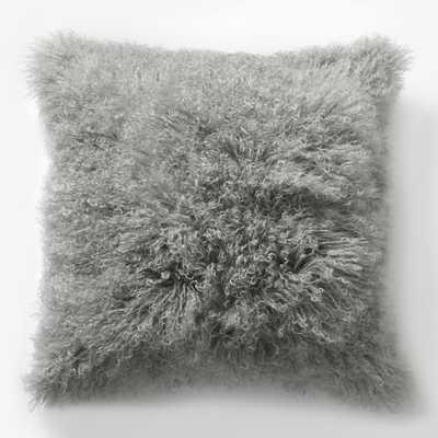 "Mongolian Lamb Pillow Cover - Platinum (16"" Sq.)- Insert Sold Separately - West Elm"