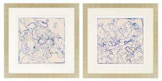 "Indigo Floral- 32"" x 32""- Framed - One Kings Lane"