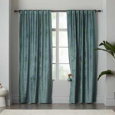 """Luster Velvet Curtain - Blue Stone - 108"""" x 48"""" - West Elm"""