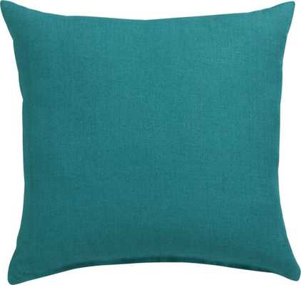 """linon teal 20"""" pillow with down-alternative insert - CB2"""