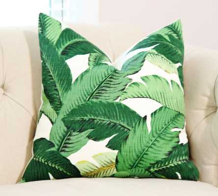 "Tropical Palm Leaf Pillow Cover- 20"" x 20""- Green/Yellow- Insert Sold Separately - Etsy"