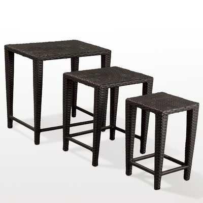 Lionel 3 Piece Wicker Nesting Tables - Black - Wayfair