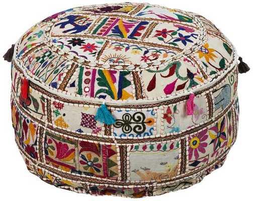 Surya Exotic Patchwork Multi-Color Cotton Pouf Ottoman - Lamps Plus