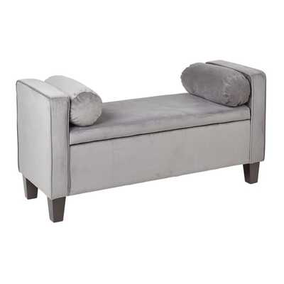 Bassett Cordoba Storage Bench with Pillows in Charcoal Velvet Fabric - Overstock