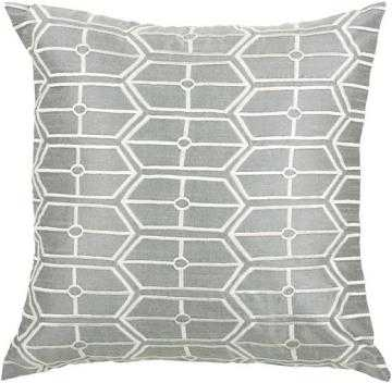GARRICK PILLOW- SILVER/WHITE - 18x18, With Insert - Home Decorators