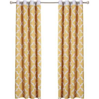 "Lola Moroccan Tile Darkening Curtain Panels - Yellow - 96"" L x 52"" W - Wayfair"