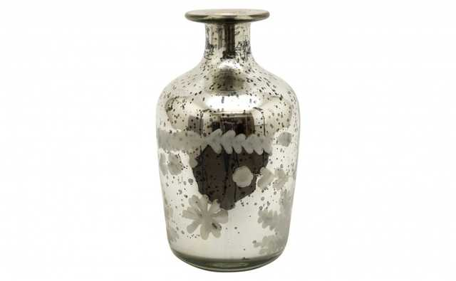 ETCHED MERCURY GLASS BOTTLE - D - Jayson Home