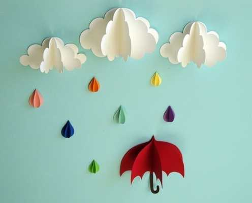 Red Umbrella, Raindrops and Clouds Wall Art - Etsy
