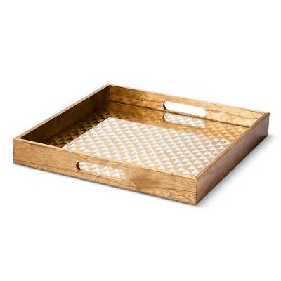 Threshold Wooden Decorative Tray w/ Gold Pattern - Target