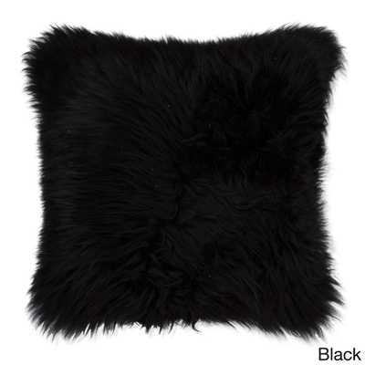 "New Zealand Sheepskin Black Pillow-18""Sq, Polyester insert - Overstock"