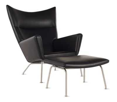 Wing Chair and Ottoman in Leather - Design Within Reach