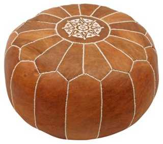 Moroccan Leather Pouf, Brown - One Kings Lane