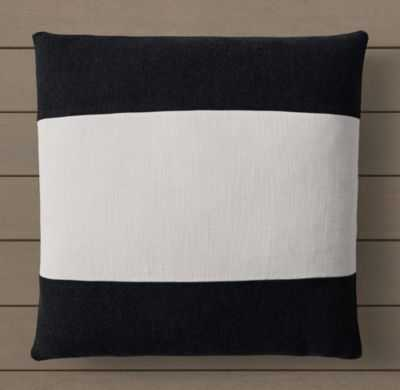 BELIZE BANDED PILLOW COVER - BLACK - RH