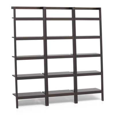 "Sawyer Mocha Leaning 24.5"" Bookcases Set of Three - Crate and Barrel"