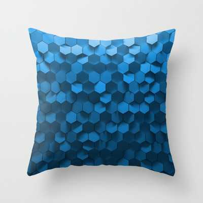 """Blue hexagon abstract pattern Throw Pillow 16"""" x 16"""" insert sold separately - Society6"""
