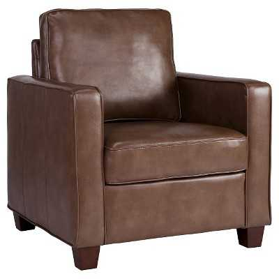 Square Arm Bonded Leather Chair - Chocolate - Target