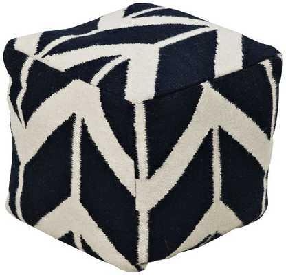 Surya Arrow   Wool Square Pouf Ottoman - Lamps Plus