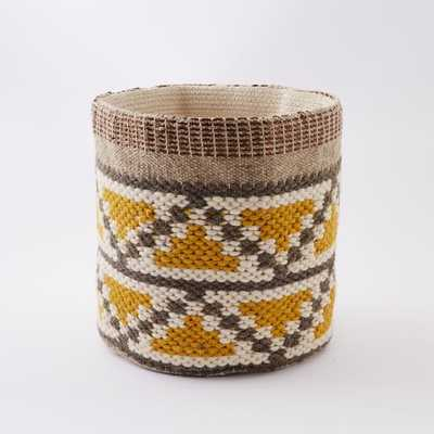 Woven Geo Basket - Yellow - West Elm