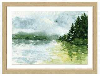 """Watercolor Landscape Print II- 22""""L x 26""""H- Framed - One Kings Lane"""