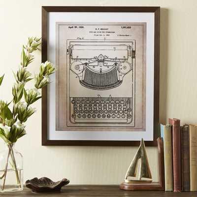 Typewriter Framed Blueprint - 17x20 - Framed - Birch Lane