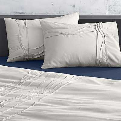 Set of two twisted silver grey king shams - CB2