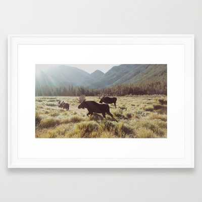 """Three Meadow Moose - FRAMED ART PRINT/SCOOP WHITE SMALL (21"""" X 15"""") - Society6"""