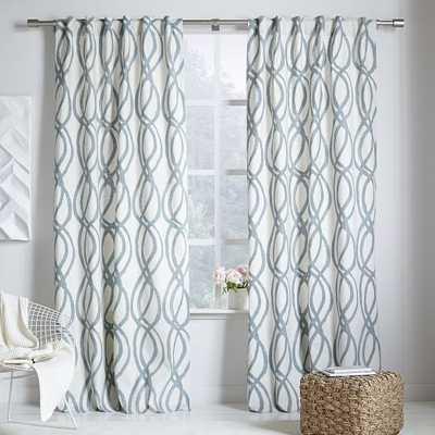 """Cotton Canvas Scribble Lattice Curtain - Blue Sage-84"""" - West Elm"""