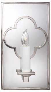 Quatrefoil Mirrored Sconce, Nickel - One Kings Lane