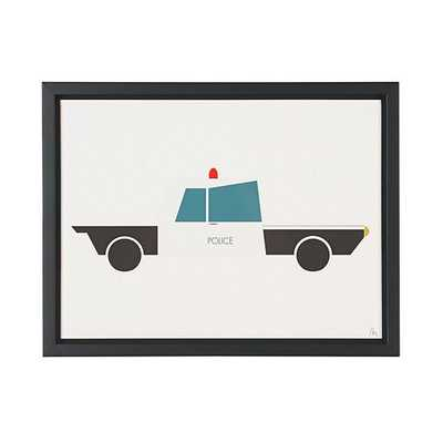 Time to Ride Wall Art (Police Car)/Framed - Land of Nod