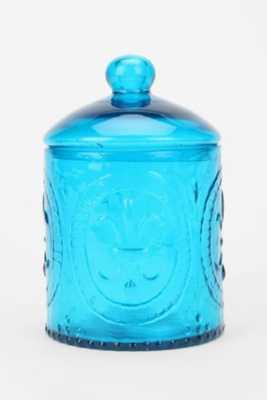 Fleur-De-Lys Glass Jar - Blue - Urban Outfitters