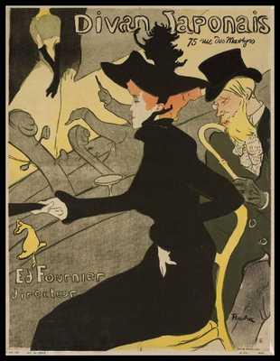 """Le Divan Japonais by Henri de Toulouse-Lautrec - 22.56""""x19"""" - Framed - Domino"""