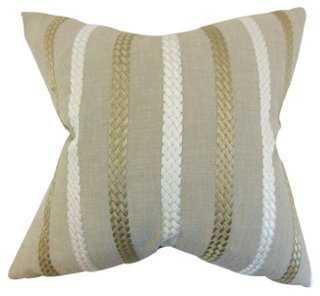 Emese 18x18 Cotton Pillow, Natural - One Kings Lane