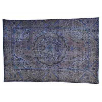 Handmade Purple Worn Down Overdyed Persian Tabriz Area Rug (6'3 x 9'5) - Overstock
