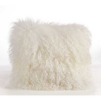 "Mongolian Lamb Fur Wool Throw Pillow 16"" x 16"" with insert - AllModern"