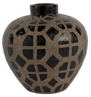 "6"" Graphic Vase, Black - One Kings Lane"
