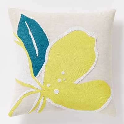 """Orchid Beaded Pillow Cover, Citrus Yellow - 18""""sq. - Insert sold separately - West Elm"""
