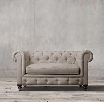 PETITE KENSINGTON UPHOLSTERED SOFA - Belgian Linen, Fog, Standard - RH