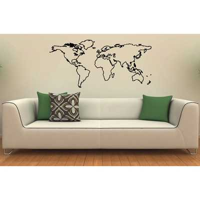 World Map Vinyl Wall Decal - Overstock